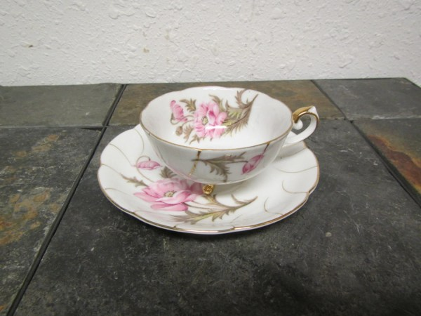 Vintage Cherry China Tea Cup And Saucer Set Japan Pink