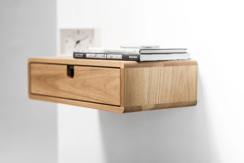 Floating Nightstand With 1 Drawer In Oak Scandinavian Design