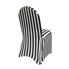 Black Banquet Chair Covers For Sale How Much Fabric To Reupholster A And White Striped Spandex Cover Stretch Etsy Image 0