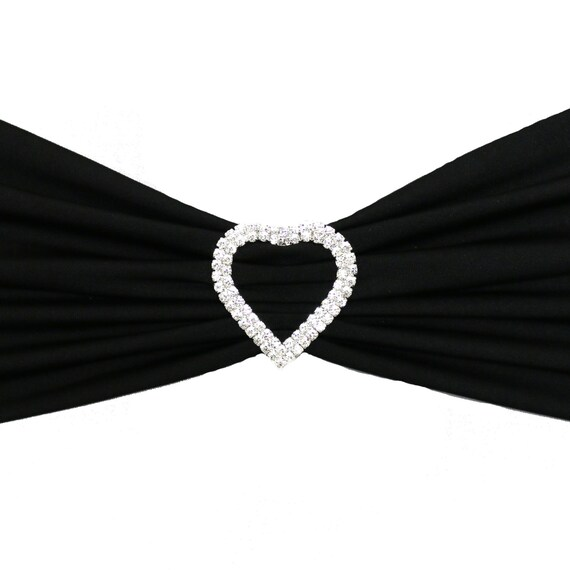 wedding chair sash accessories best gaming for big guys reddit 10 pack silver heart rhinestone buckle etsy image 0