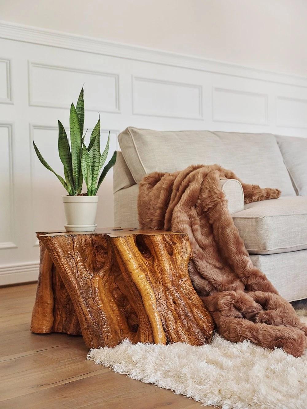 italian olive wood large 37 stump coffee table