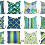 Outdoor Pillows Or Indoor Pillow Covers Custom 18x18 20x20 All Sizes Bright Green Lime Royal Blue Aqua Turquoise With White