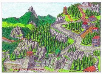 fantasy mountain village cottage houses landscape