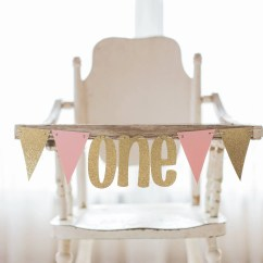 Small High Chair Kitchen Table Chairs Argos Banner Etsy Pink And Gold First Birthday Photo Prop Party One