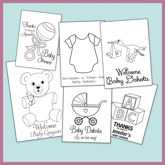 baby shower personalized coloring book printable pdf