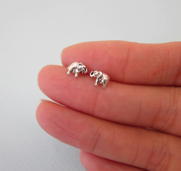 Tiny Sterling Silve Baby Elephant Stud Earrings Children