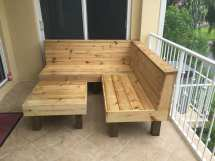 Sectional - Rustic Wood Patio Benches And Table