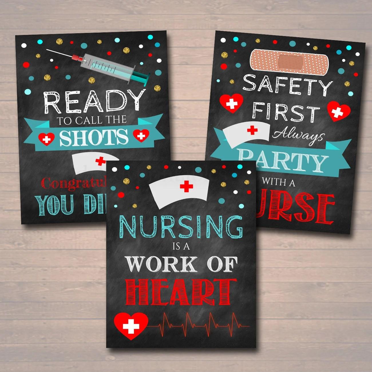 Nurse graduation party signs chalkboard printable rn lpn college graduate medical grad decorations with  instant download also nursing etsy rh