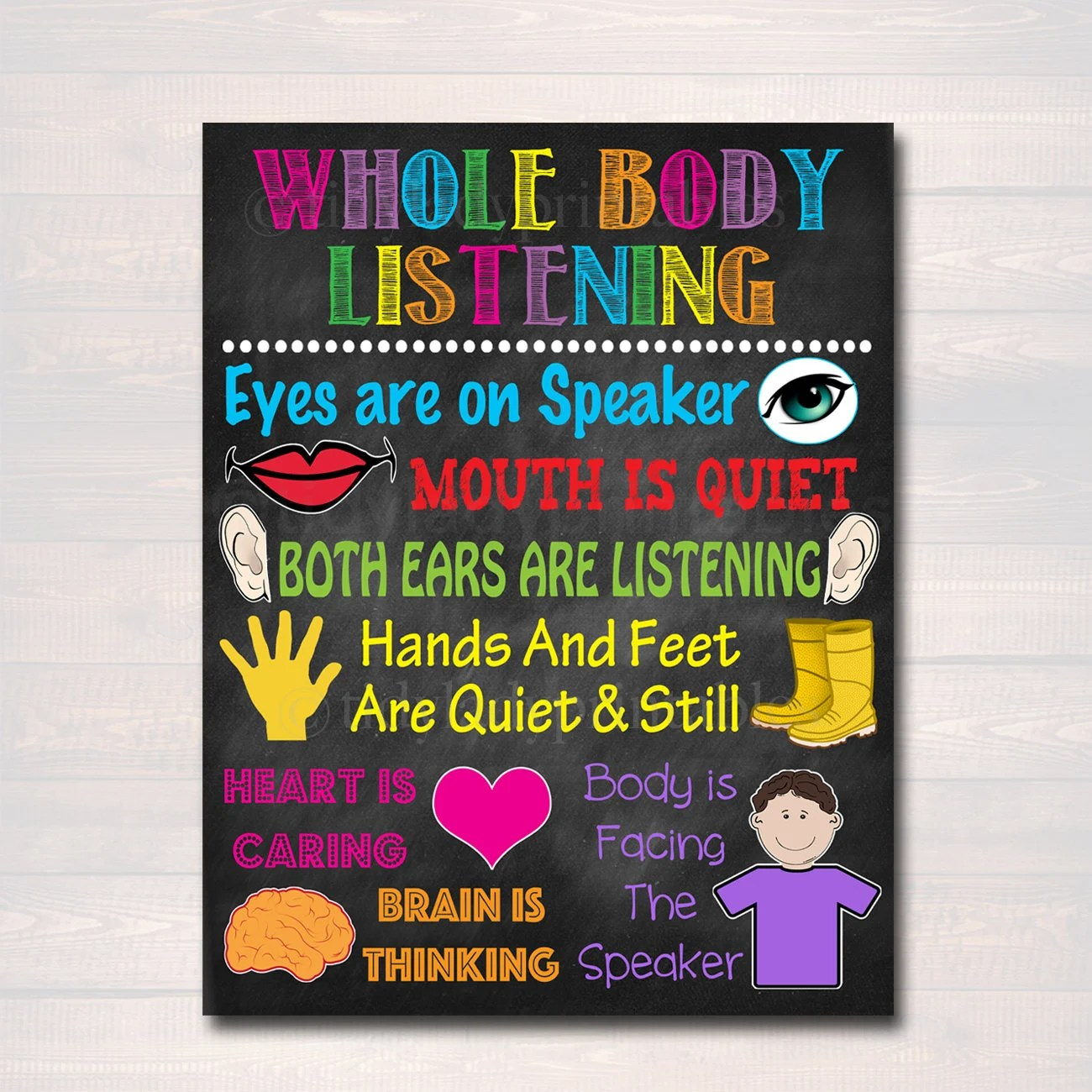 Classroom Decor Whole Body Listening Poster Kindergarten