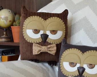 hibou coussin coussin hibou grange hibou chouette cadeau hibou sur le theme peluche hibou chouette decorative bois interieurs marron avec noeud