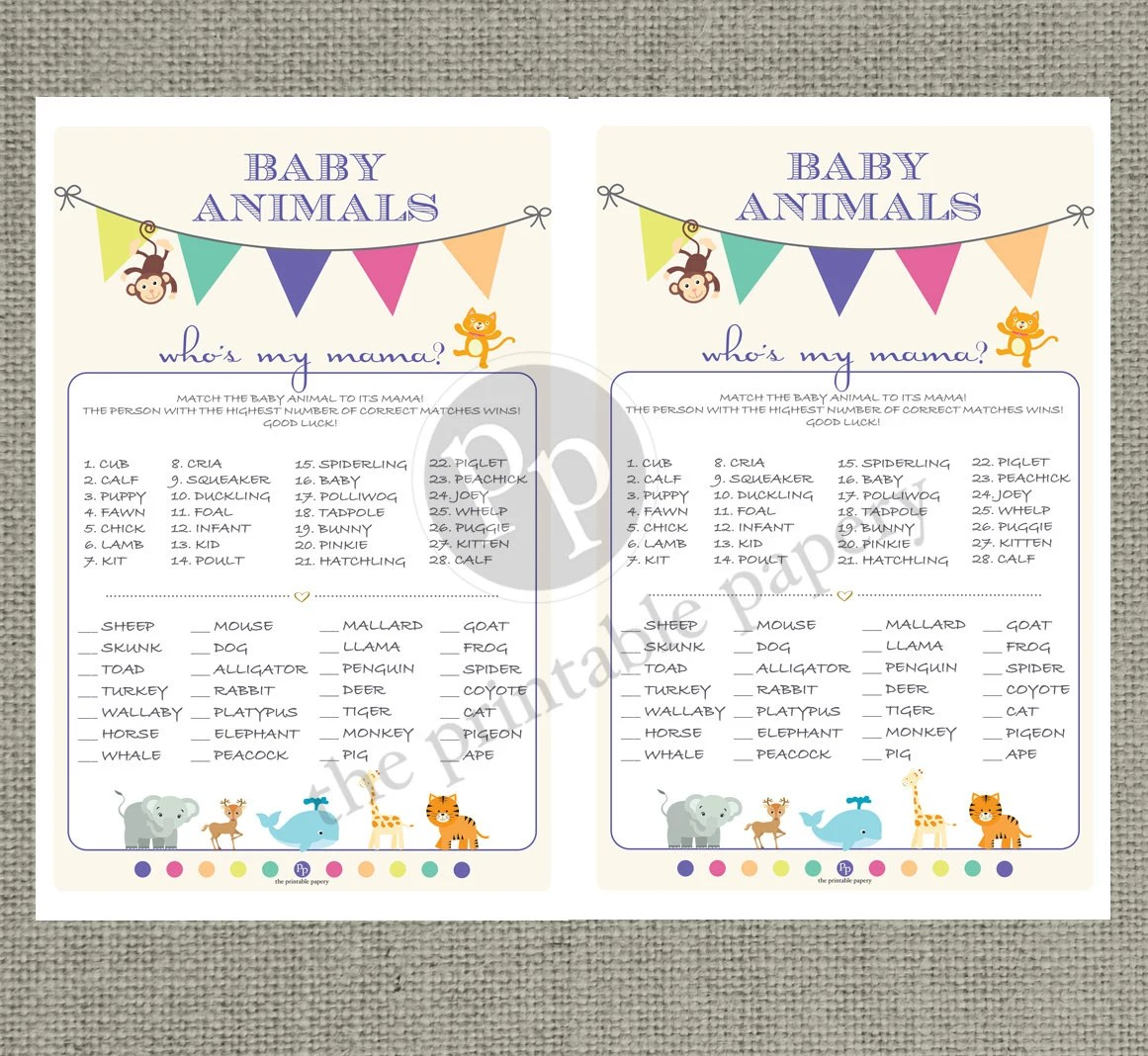 Printable Animal Matching Game Baby Shower
