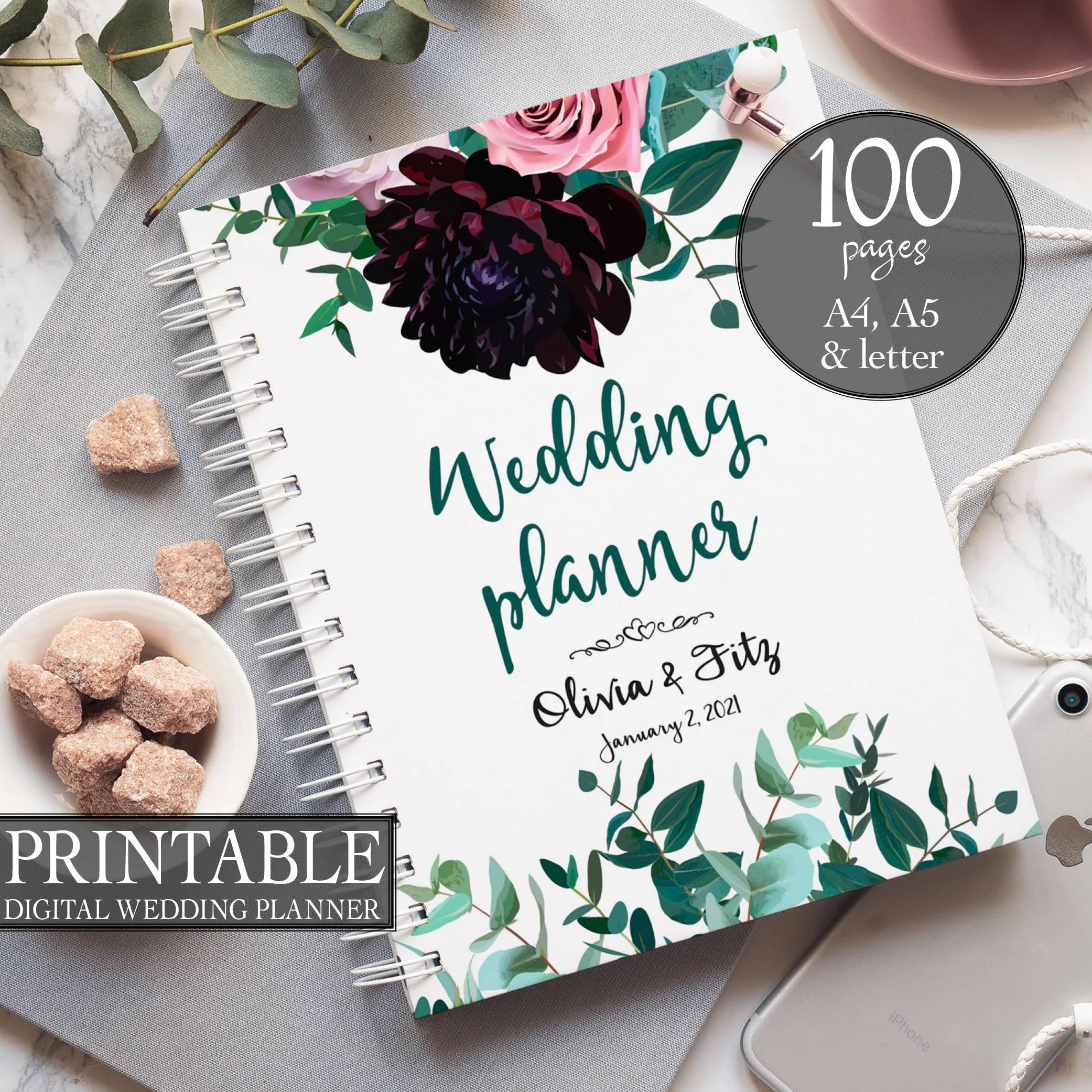 Burgundy Wedding Binder Peonies Wedding Planner Floral