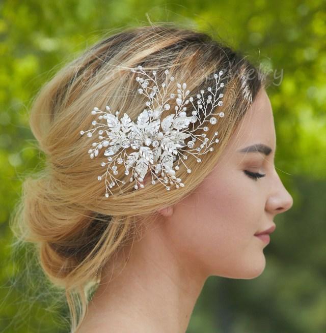 bridal floral hair clip,bridal crystal hair piece,crystal