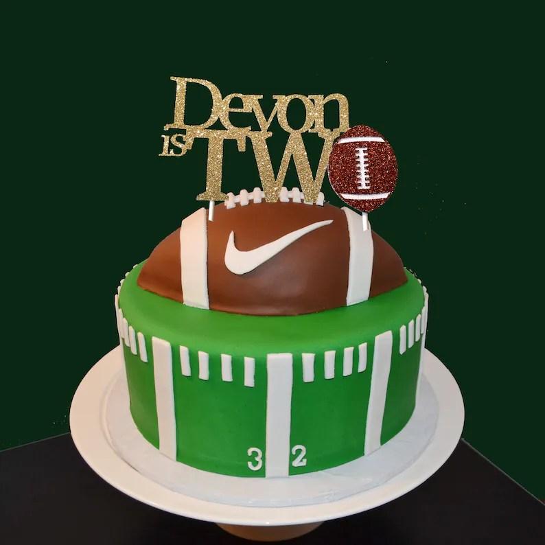 Football Cake Topper First Birthday Football Cake Topper Etsy