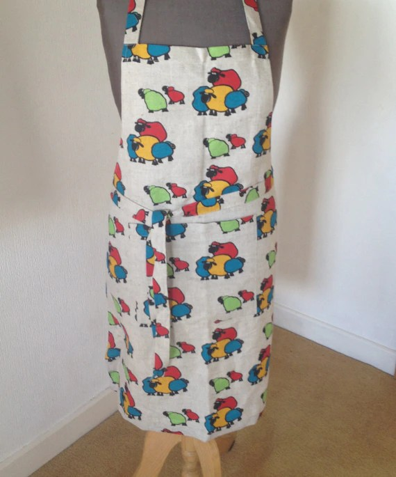 kitchen wear hotel chains with kitchens linen apron colorful sheep prints farm yard etsy