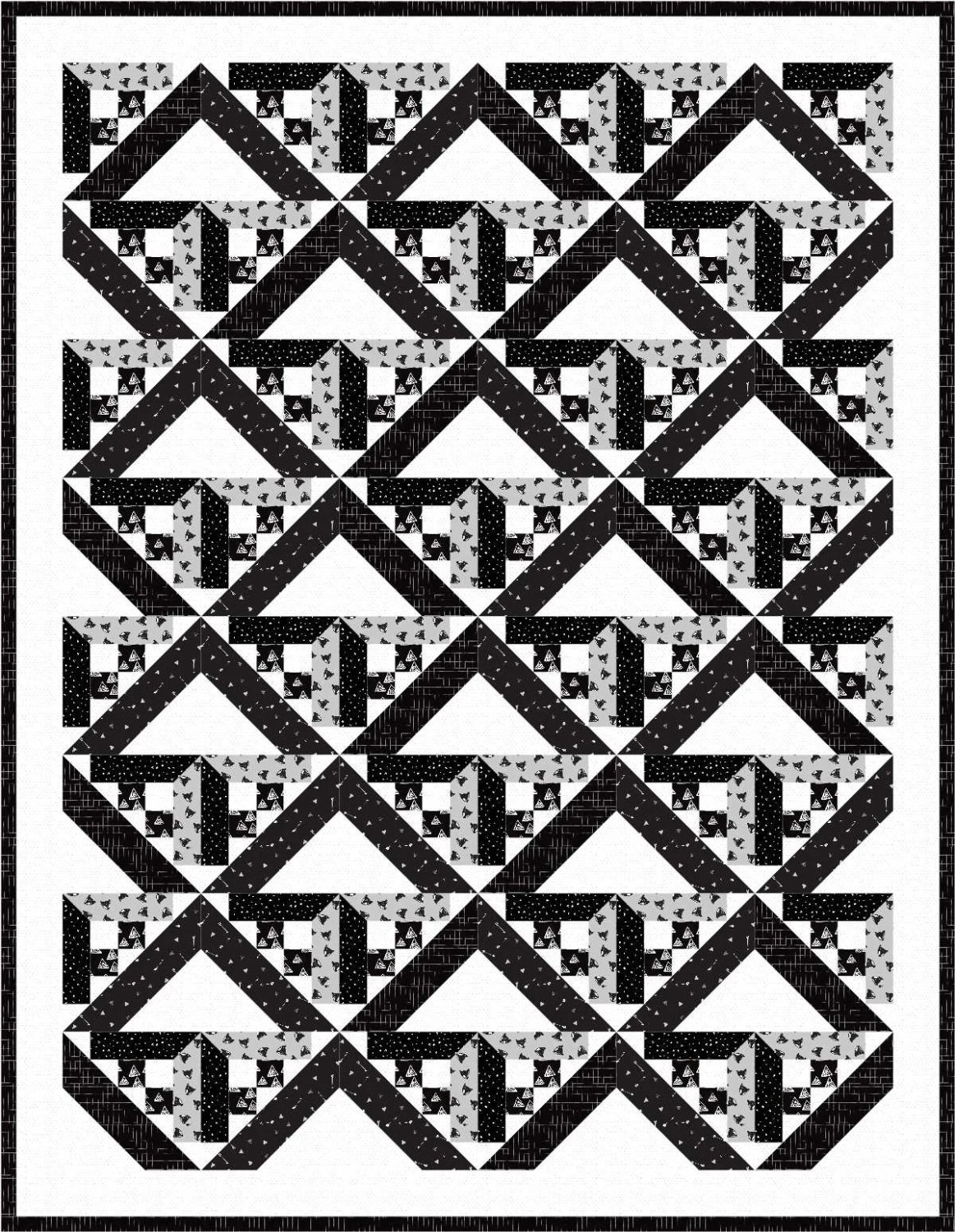 Black And White Geometric Quilt : black, white, geometric, quilt, Modern, Quilt, Pattern, Geometric, Black, White, Headed, North