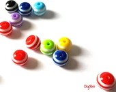 Pack of 300 Assorted Colours Round Plastic Stripe Beads. 10mm Loose Resin Spacers.
