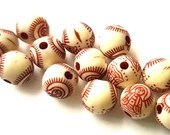Pack of 100 Round Dark Brown and Beige Acrylic Buddha Beads. 8mm Patterned Plastic Spacers