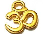 Pack of 20 Mini Gold Om Charms. Aum Meditation Buddhist Pendants. Buddha Ohm Tags. 9mm x 10mm