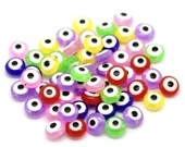 Pack of 200 Round and Flat Assorted Colours Evil Eye Talisman Spacer Beads. 8mm x 5mm.