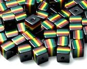 Pack of 50 Black Square Cube Rasta Beads. Ghana Jamaica Reggae Stripes. 10mm x 10mm
