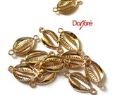 Pack of 10 Gold Colour Cowrie Shell Connector Charms. Hair & Jewellery Making Pendants. 28mm x 14mm