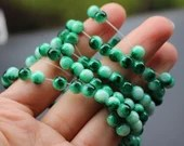 Pack of 120 Round Green & White Glass Beads. 6mm Multicoloured Ball Spacers
