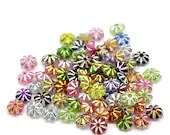 Pack of 1000 Assorted Colours Round Silver Lines Beads. 6mm Acrylic Spacers