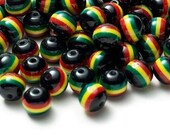 Pack of 75 Black Round Rasta Colours Stripe Beads. 10mm Ghana Jamaica Reggae Spacers.