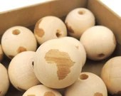 Pack of 20 Round Africa Wooden Beads 20mm Natural Raw Wood Spacers