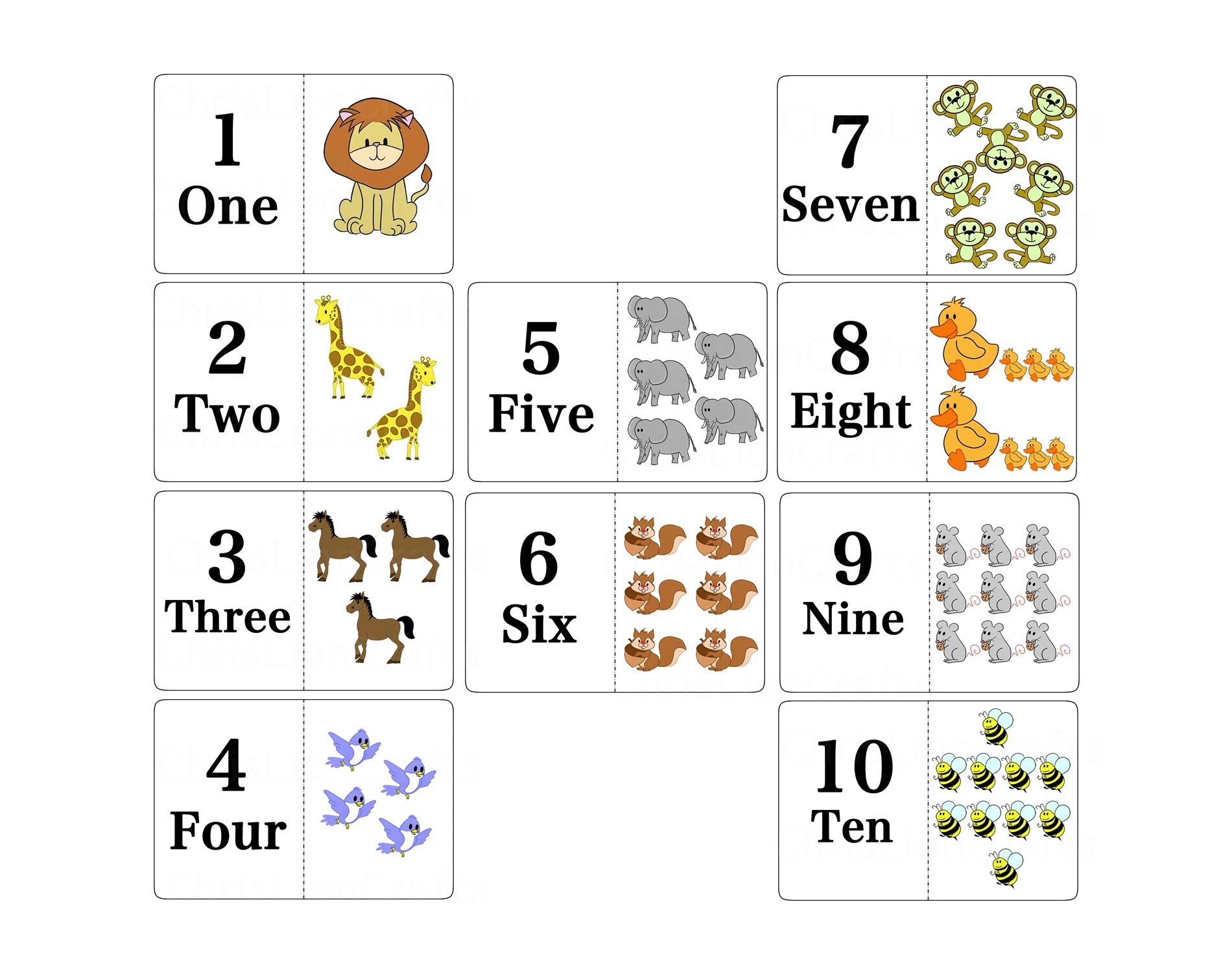 Math Cards Set For Preschool Kids Animal Numbers Flash