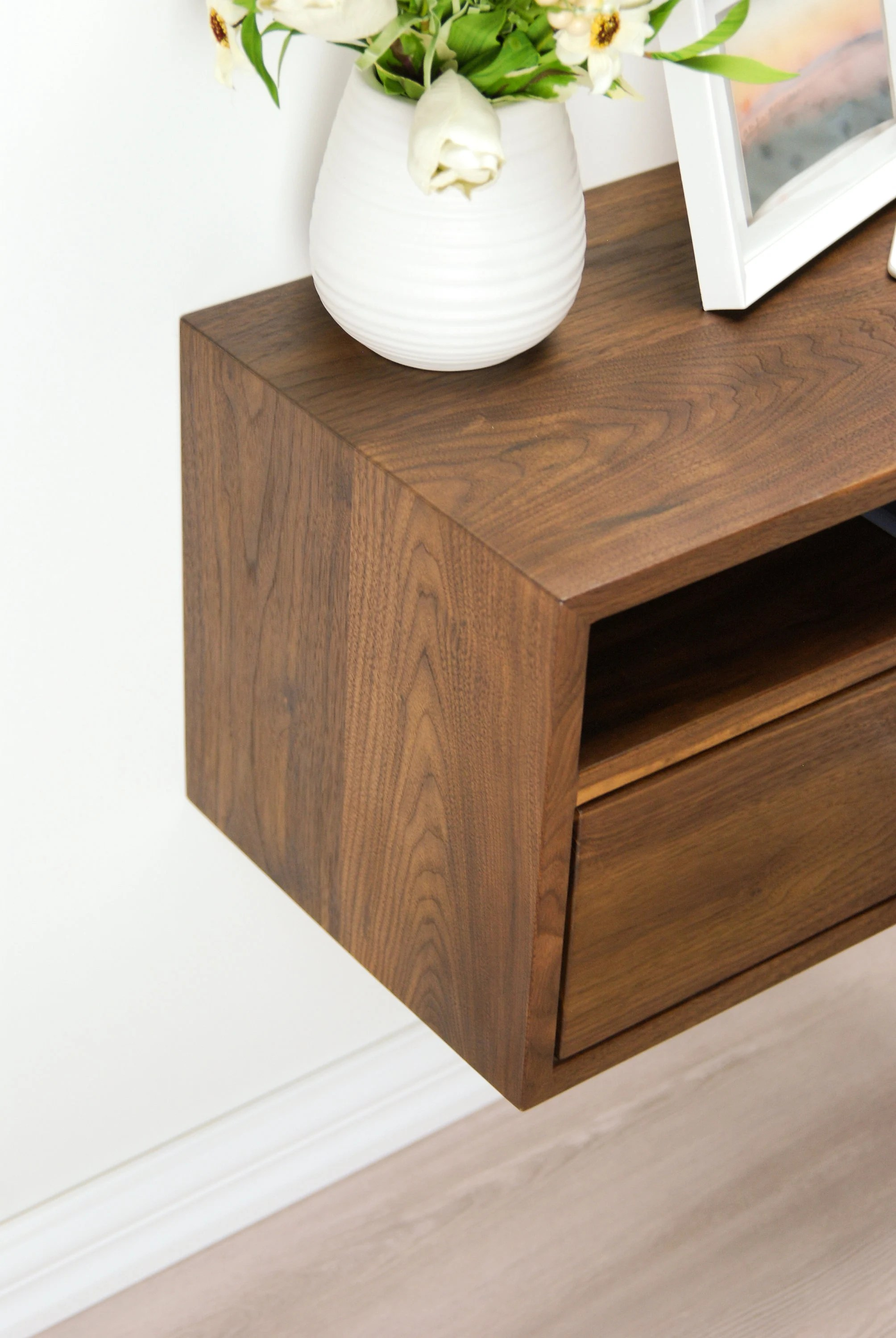 Floating Nightstand With Drawer And Open Shelf Solid
