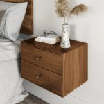 Floating Nightstand With 2 Drawers In Solid Black Walnut Mid Century Modern Bedside Table Minimalist
