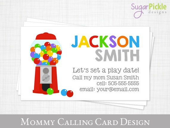 Mommy Calling Card Play Date Card Gum Ball Kids Calling Card Business Card For Moms Mom Of Cards Child Business Card Printable Jpeg