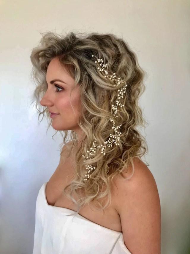 beach wedding hair vine, bohemian bridal hair vine,swarovski pearl hair accessory,woodland hair vine, boho headpiece, beach bride,boho bride