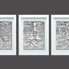 Pictures For Kitchen Wall Rug Runners Modern Decor Etsy Eat Drink And Be Merry Art Shabby Chic White Gray