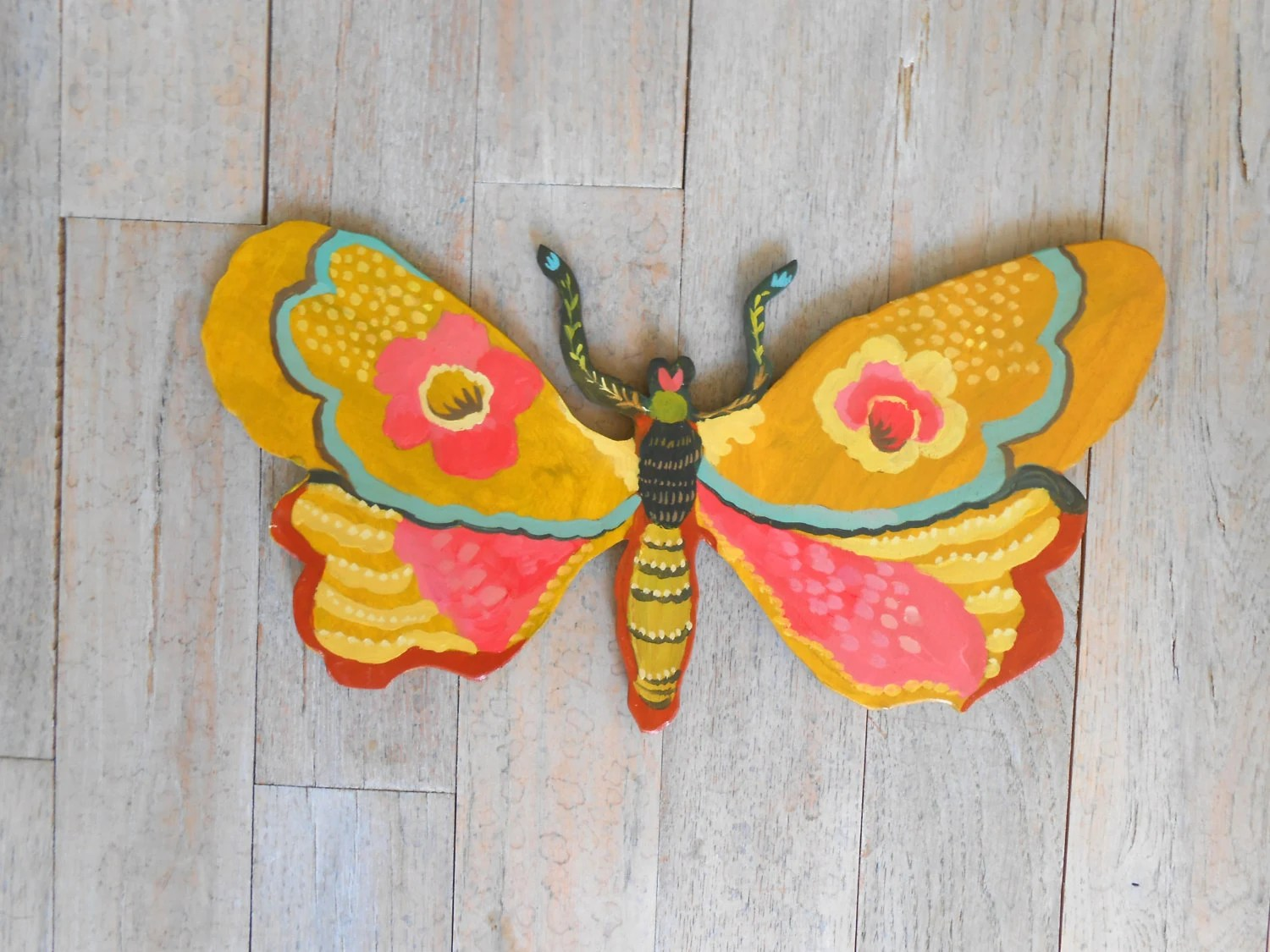 Joyful Moth Handpainted Wood Wall Sculpture By Kimberly Hodges Butterfly Wall Decor Painted Moth Tween Decor Girls Decor Nursery Decor