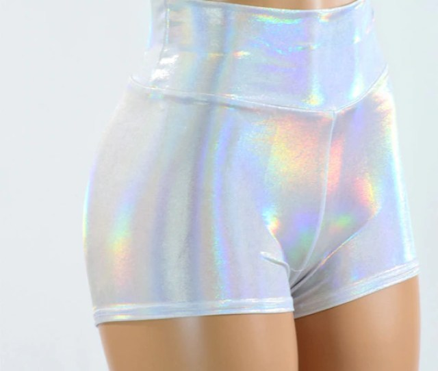 High Waist Flashbulb Holographic Metallic Spandex Booty Shorts Rave Festival Clubwear