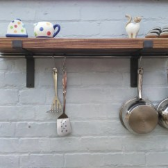 Wood Shelves Kitchen Ashley Furniture Table And Chairs Etsy Rustic Solid Pan Rack Shelf With Hanging Rod 1 22 Cm Deep Brackets