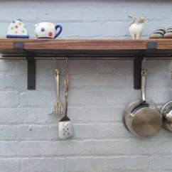 Kitchen Shelf Countertops Options Shelves Etsy Solid Wood Pan Hanger Rack With Hanging Rod 1 22 Cm Deep Brackets