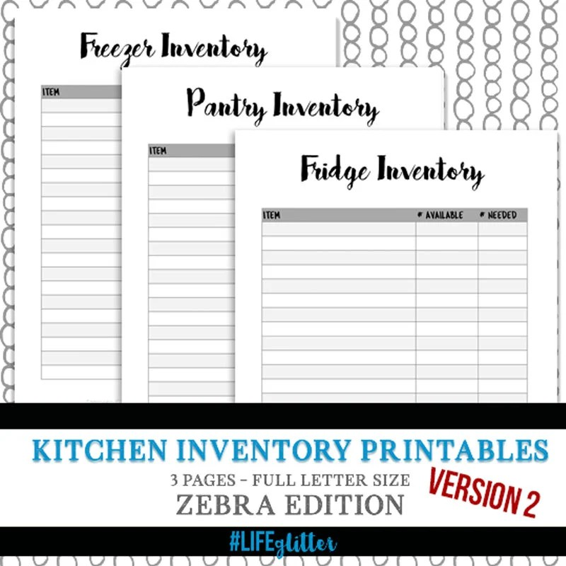 kitchen inventory wood tables and chairs sets organization meal plan etsy fridge freezer pantry digital download