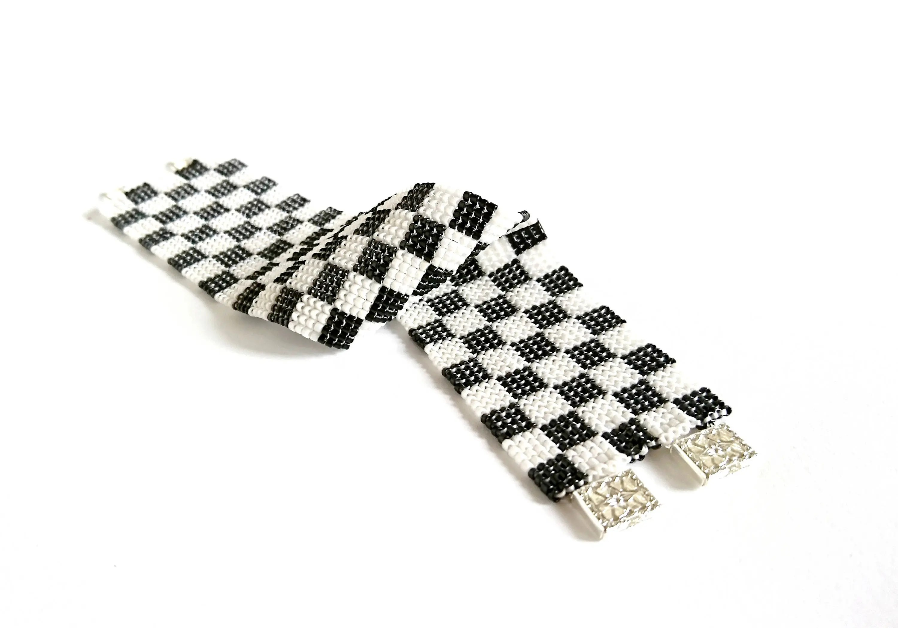 Items similar to Beaded Black and White Checkered Cuff