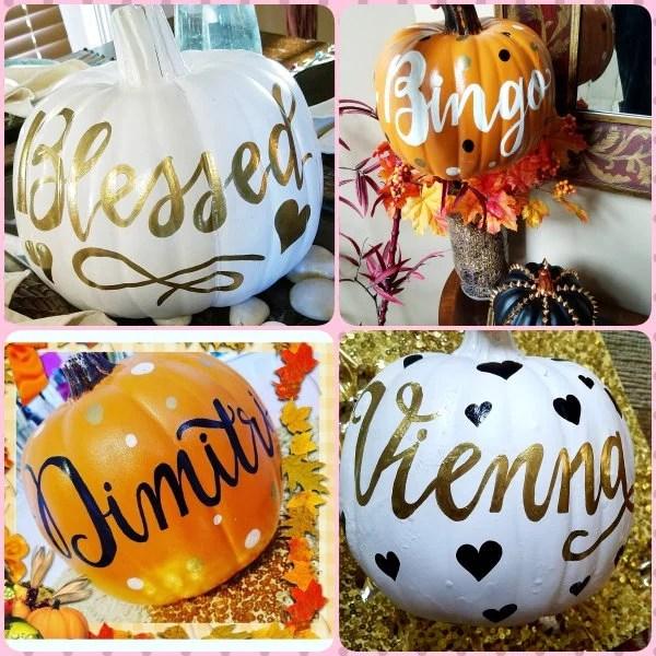 Calligraphy Pumpkin Personalized Fall Pumpkin Craft Etsy