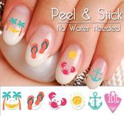 summer beach fun mix nail art decal