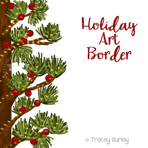 holiday art border invitation