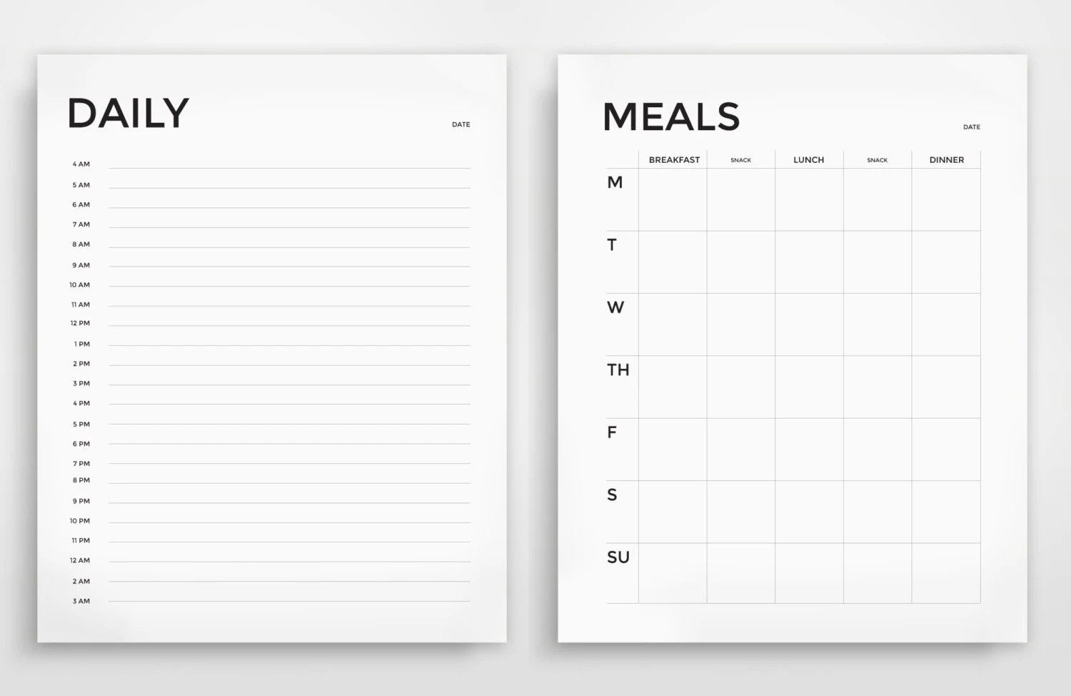 Printable Planner Daily Planner Weekly Planner Grocery