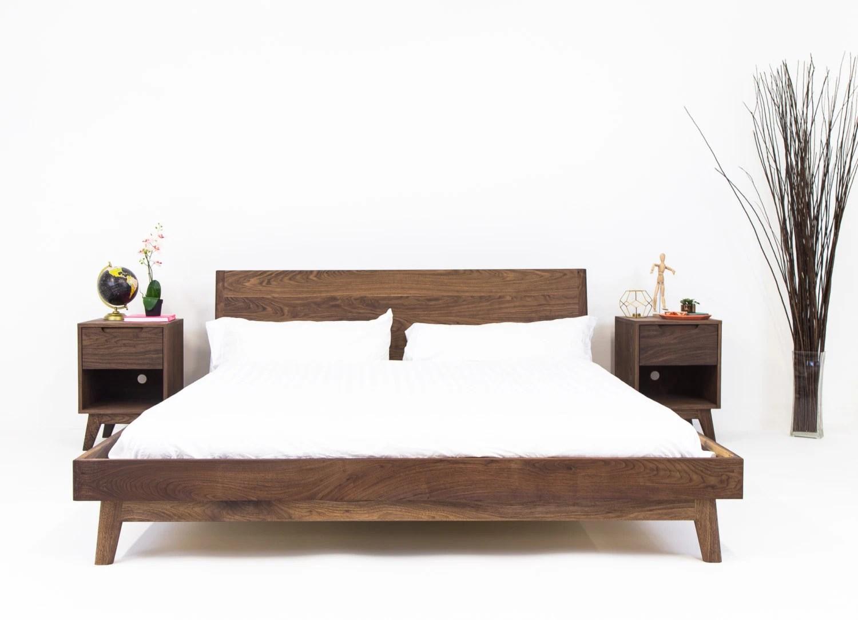 walnut platform bed frame mid century modern bed wood bed frame the bosco bohemian decor mad men