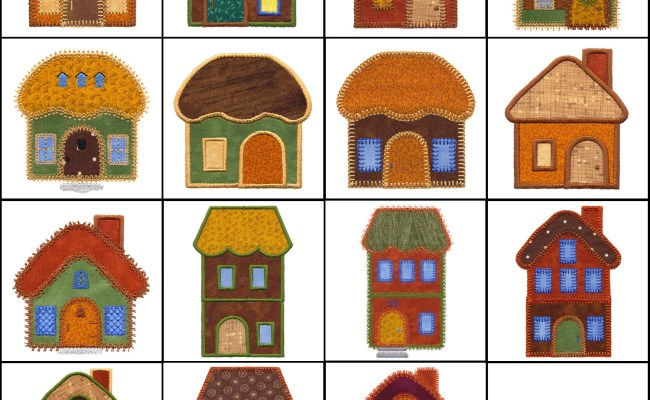 Set Of Small Houses Applique Machine Embroidery Designs