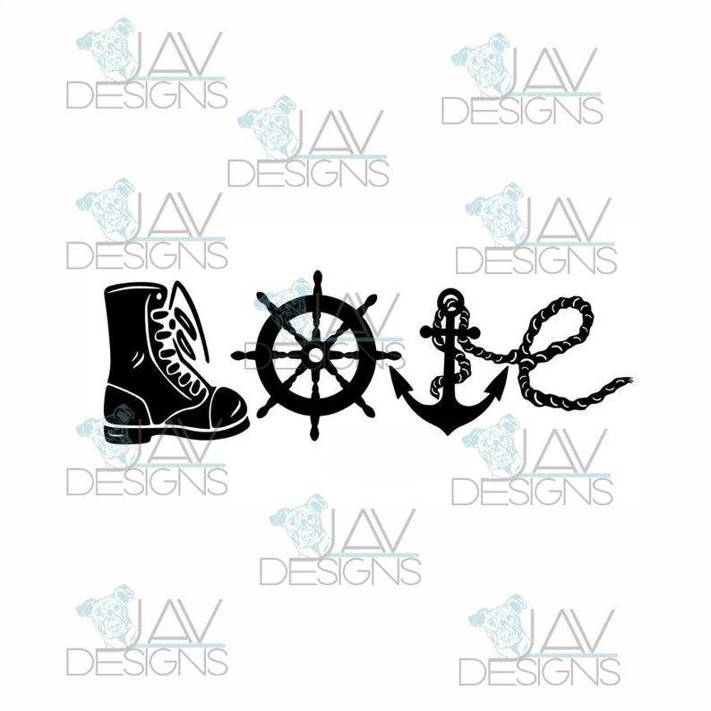 Download LOVE Military LOVE SVG Solider Service Branches 6 Digital ...