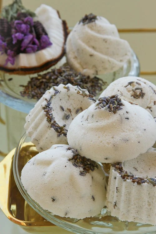1 Lavender Bath Bomb: natural, homemade with lavender buds & pure essential oils